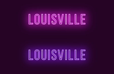 Neon name of Louisville city in USA. Vector text of Louisville, Neon inscription with backlight in Thin style, purple and violet colors. Isolated glowing title for decoration. Without overlay mode Illustration