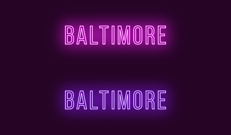 Neon name of Baltimore city in USA. Vector text of Baltimore, Neon inscription with backlight in Thin style, purple and violet colors. Isolated glowing title for decoration. Without overlay mode