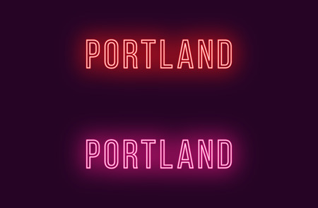 Neon name of Portland city in USA. Vector text of Portland, Neon inscription with backlight in Thin style, red and pink colors. Isolated glowing title for decoration. Without overlay mode