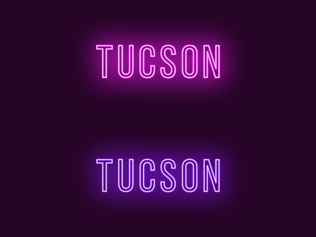 Neon name of Tucson city in USA. Vector text of Tucson, Neon inscription with backlight in Thin style, purple and violet colors. Isolated glowing title for decoration. Without overlay mode