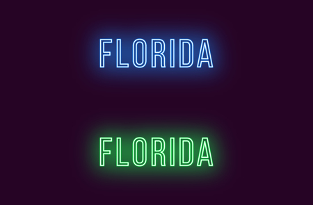 Neon name of Florida state in USA. Vector text of Florida, Neon inscription with backlight in Thin style, blue and green colors. Isolated glowing title for decoration. Without overlay mode  イラスト・ベクター素材