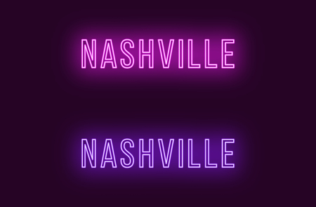 Neon name of Nashville city in USA. Vector text of Nashville, Neon inscription with backlight in Thin style, purple and violet colors. Isolated glowing title for decoration. Without overlay mode