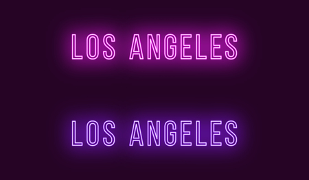 Neon name of Los Angeles city in USA. Vector text of Los Angeles, Neon inscription with backlight in Thin style, purple and violet colors. Isolated glowing title for decoration. Without overlay mode