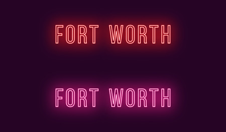 Neon name of Fort Worth city in USA. Vector text of Fort Worth, Neon inscription with backlight in Thin style, red and pink colors. Isolated glowing title for decoration. Without overlay mode Illustration