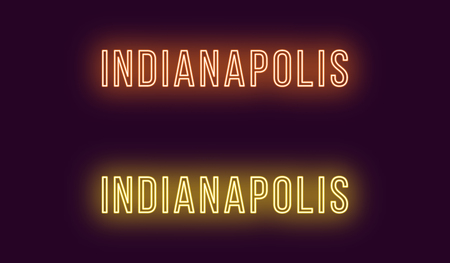 Neon name of Indianapolis city in USA. Vector text of Indianapolis, Neon inscription with backlight in Thin style, orange and yellow colors. Isolated glowing title for decoration. Without overlay mode Illustration