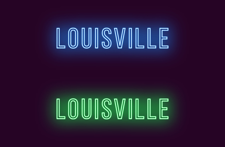 Neon name of Louisville city in USA. Vector text of Louisville, Neon inscription with backlight in Thin style, blue and green colors. Isolated glowing title for decoration. Without overlay mode