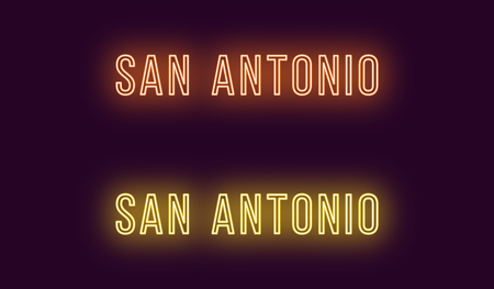 Neon name of San Antonio city in USA. Vector text of San Antonio, Neon inscription with backlight in Thin style, orange and yellow colors. Isolated glowing title for decoration. Without overlay mode