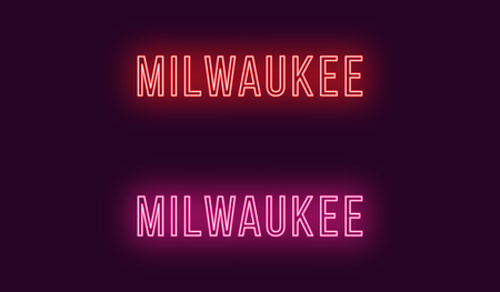 Neon name of Milwaukee city in USA. Vector text of Milwaukee, Neon inscription with backlight in Thin style, red and pink colors. Isolated glowing title for decoration. Without overlay mode
