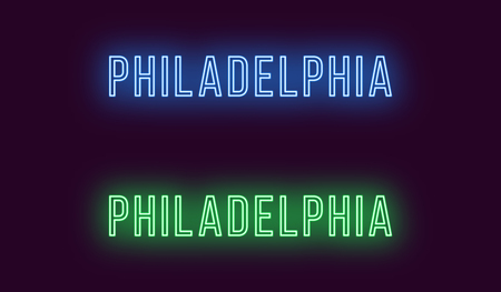 Neon name of Philadelphia city in USA. Vector text of Philadelphia, Neon inscription with backlight in Thin style, blue and green colors. Isolated glowing title for decoration. Without overlay mode 일러스트