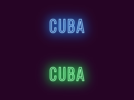 Neon name of Cuba Republic. Vector text of Cuba, Neon inscription with backlight in Thin style, blue and green colors. Isolated glowing title for decoration. Without overlay mode  イラスト・ベクター素材