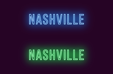 Neon name of Nashville city in USA. Vector text of Nashville, Neon inscription with backlight in Thin style, blue and green colors. Isolated glowing title for decoration. Without overlay mode