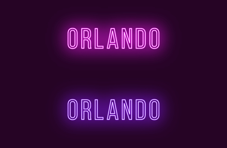 Neon name of Orlando city in USA. Vector text of Orlando, Neon inscription with backlight in Thin style, purple and violet colors. Isolated glowing title for decoration. Without overlay mode