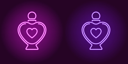 Neon perfume bottle, glowing icon. Vector illustration of perfume flacon with heart and backlight in neon style, purple and violet colors. Glowing sign and fashion symbol for Valentine day Vettoriali