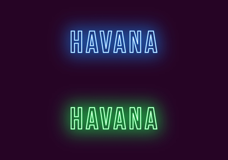 Neon name of Havana city in Cuba. Vector text of Havana, Neon inscription with backlight in Bold style, blue and green colors. Isolated glowing title for decoration. Without overlay mode  イラスト・ベクター素材