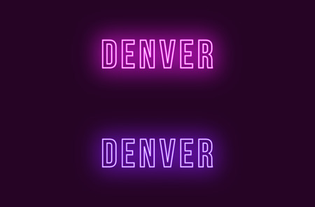 Neon name of Denver city in USA. Vector text of Denver, Neon inscription with backlight in Bold style, purple and violet colors. Isolated glowing title for decoration. Without overlay mode Çizim