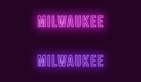 Neon name of Milwaukee city in USA. Vector text of Milwaukee, Neon inscription with backlight in Bold style, purple and violet colors. Isolated glowing title for decoration. Without overlay mode