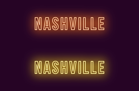 Neon name of Nashville city in USA. Vector text of Nashville, Neon inscription with backlight in Bold style, orange and yellow colors. Isolated glowing title for decoration. Without overlay mode