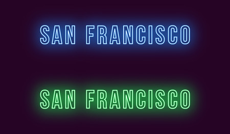 Neon name of San Francisco city in USA. Vector text of San Francisco, Neon inscription with backlight in Bold style, blue and green colors. Isolated glowing title for decoration. Without overlay mode