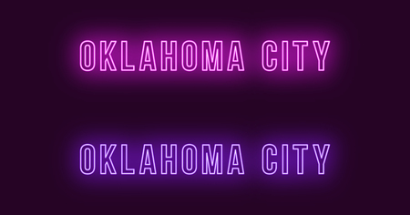 Neon name of Oklahoma City in USA. Vector text of Oklahoma, Neon inscription with backlight in Bold style, purple and violet colors. Isolated glowing title for decoration. Without overlay mode Çizim