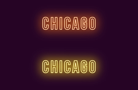 Neon name of Chicago city in USA. Vector text of Chicago, Neon inscription with backlight in Bold style, orange and yellow colors. Isolated glowing title for decoration. Without overlay mode