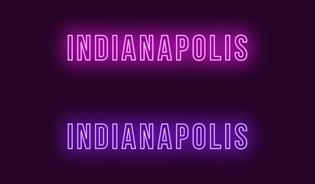 Neon name of Indianapolis city in USA. Vector text of Indianapolis, Neon inscription with backlight in Bold style, purple and violet colors. Isolated glowing title for decoration. Without overlay mode Illustration