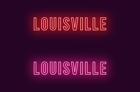 Neon name of Louisville city in USA. Vector text of Louisville, Neon inscription with backlight in Bold style, red and pink colors. Isolated glowing title for decoration. Without overlay mode