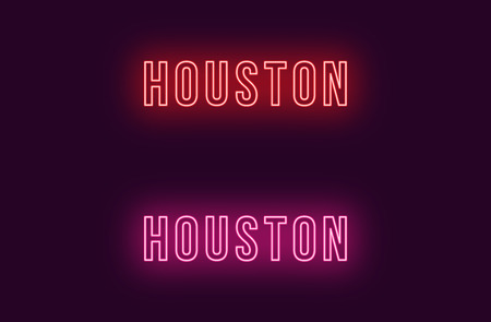 Neon name of Houston city in USA. Vector text of Houston, Neon inscription with backlight in Bold style, red and pink colors. Isolated glowing title for decoration. Without overlay mode
