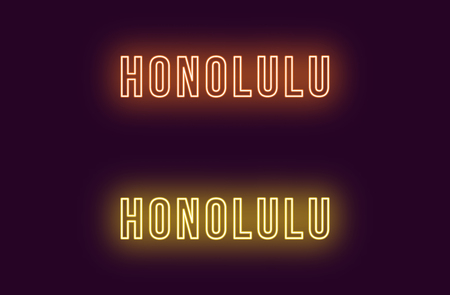 Neon name of Honolulu city in Hawaii. Vector text of Honolulu, Neon inscription with backlight in Bold style, orange and yellow colors. Isolated glowing title for decoration. Without overlay mode