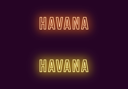 Neon name of Havana city in Cuba. Vector text of Havana, Neon inscription with backlight in Bold style, orange and yellow colors. Isolated glowing title for decoration. Without overlay mode