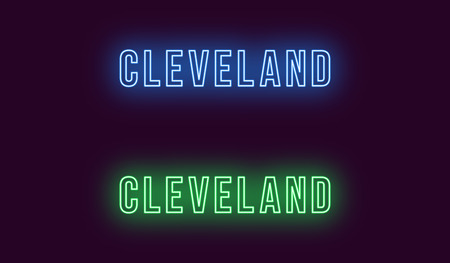 Neon name of Cleveland city in USA. Vector text of Cleveland, Neon inscription with backlight in Bold style, blue and green colors. Isolated glowing title for decoration. Without overlay mode Ilustração