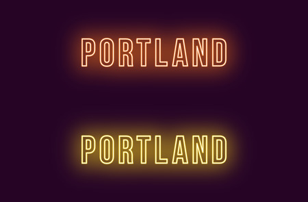 Neon name of Portland city in USA. Vector text of Portland, Neon inscription with backlight in Bold style, orange and yellow colors. Isolated glowing title for decoration. Without overlay mode  イラスト・ベクター素材