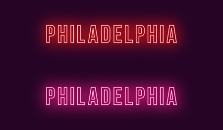 Neon name of Philadelphia city in USA. Vector text of Philadelphia, Neon inscription with backlight in Bold style, red and pink colors. Isolated glowing title for decoration. Without overlay mode