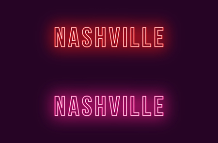 Neon name of Nashville city in USA. Vector text of Nashville, Neon inscription with backlight in Bold style, red and pink colors. Isolated glowing title for decoration. Without overlay mode