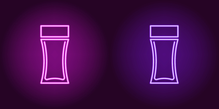 Neon perfume bottle, glowing icon. Vector illustration of perfume flacon with backlight in neon style, purple and violet colors. Glowing sign and fashion symbol for Beauty industry