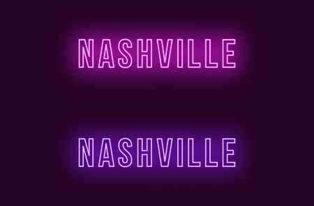 Neon name of Nashville city in USA. Vector text of Nashville, Neon inscription with backlight in Bold style, purple and violet colors. Isolated glowing title for decoration. Without overlay mode