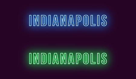 Neon name of Indianapolis city in USA. Vector text of Indianapolis, Neon inscription with backlight in Bold style, blue and green colors. Isolated glowing title for decoration. Without overlay mode