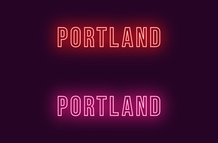 Neon name of Portland city in USA. Vector text of Portland, Neon inscription with backlight in Bold style, red and pink colors. Isolated glowing title for decoration. Without overlay mode  イラスト・ベクター素材