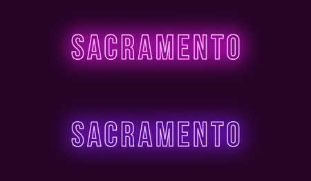 Neon name of Sacramento city in USA. Vector text of Sacramento, Neon inscription with backlight in Bold style, purple and violet colors. Isolated glowing title for decoration. Without overlay mode