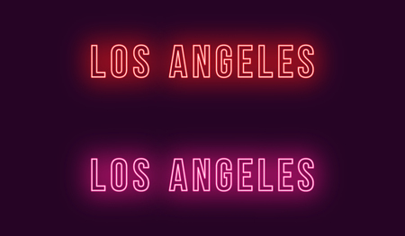 Neon name of Los Angeles city in USA. Vector text of Los Angeles, Neon inscription with backlight in Bold style, red and pink colors. Isolated glowing title for decoration. Without overlay mode  イラスト・ベクター素材