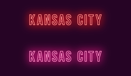 Neon name of Kansas City in USA. Vector text of Kansas City, Neon inscription with backlight in Bold style, red and pink colors. Isolated glowing title for decoration. Without overlay mode