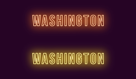 Neon name of Washington city in USA. Vector text of Washington, Neon inscription with backlight in Bold style, orange and yellow colors. Isolated glowing title for decoration. Without overlay mode Ilustrace