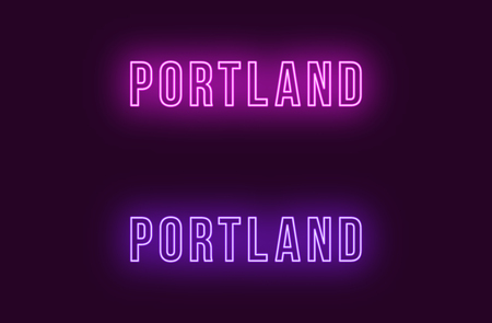 Neon name of Portland city in USA. Vector text of Portland, Neon inscription with backlight in Bold style, purple and violet colors. Isolated glowing title for decoration. Without overlay mode