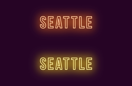 Neon name of Seattle city in USA. Vector text of Seattle, Neon inscription with backlight in Bold style, orange and yellow colors. Isolated glowing title for decoration. Without overlay mode