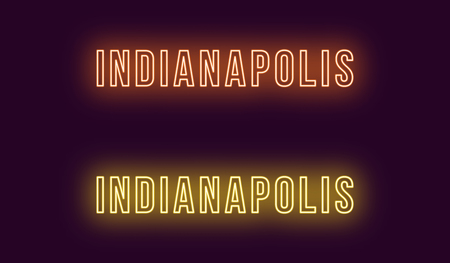 Neon name of Indianapolis city in USA. Vector text of Indianapolis, Neon inscription with backlight in Bold style, orange and yellow colors. Isolated glowing title for decoration. Without overlay mode Illustration