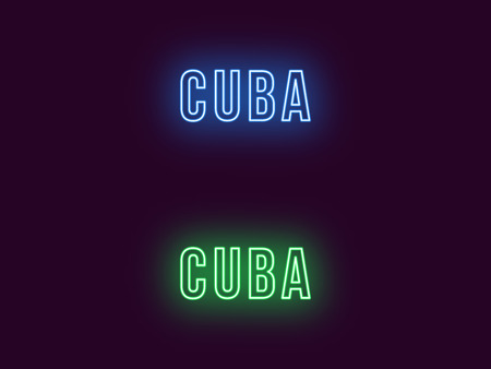Neon name of Cuba Republic. Vector text of Cuba, Neon inscription with backlight in Bold style, blue and green colors. Isolated glowing title for decoration. Without overlay mode