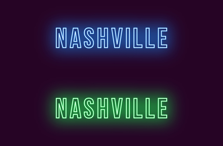 Neon name of Nashville city in USA. Vector text of Nashville, Neon inscription with backlight in Bold style, blue and green colors. Isolated glowing title for decoration. Without overlay mode Illustration