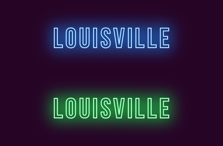 Neon name of Louisville city in USA. Vector text of Louisville, Neon inscription with backlight in Bold style, blue and green colors. Isolated glowing title for decoration. Without overlay mode Illustration