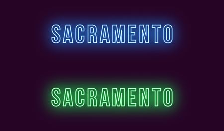 Neon name of Sacramento city in USA. Vector text of Sacramento, Neon inscription with backlight in Bold style, blue and green colors. Isolated glowing title for decoration. Without overlay mode Illustration