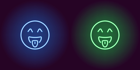 Neon illustration of teasing emoji. Vector icon of cartoon teasing emoji with tongue and winking eyes in outline neon style, blue and green colors. Glowing emoticon with backlight
