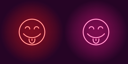 Neon illustration of teasing emoji. Vector icon of cartoon teasing emoji with tongue and narrowed eyes in outline neon style, red and pink colors. Glowing emoticon with backlight  イラスト・ベクター素材